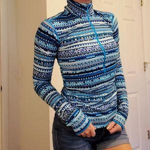 Nike Pro Dri Fit Blue Half Zip Abstract Jacket